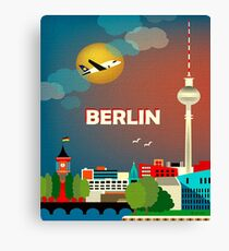 Berlin, airline, urban city, illustration, travel poster Canvas Print