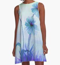 Translucent Blue Daisies A-Line Dress