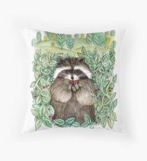 Berry Happy Raccoon Throw Pillow