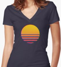 Outrun Retro Sun Women's Fitted V-Neck T-Shirt
