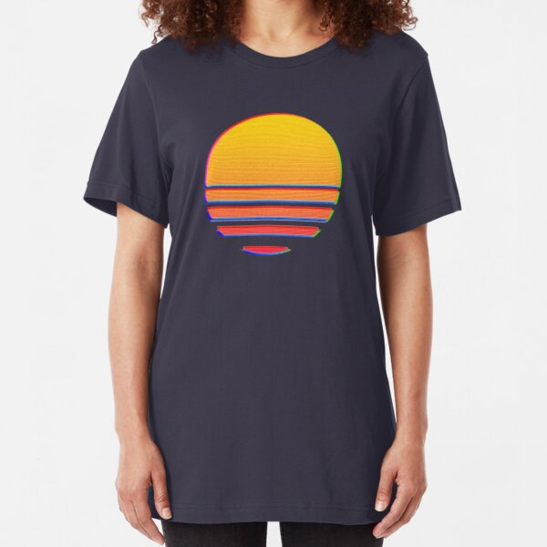 Outrun Retro Sun Slim Fit T-Shirt