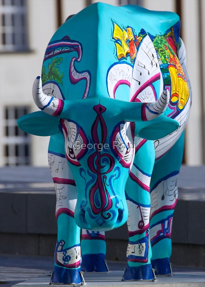 Painted Cow by Cathedral Youth, Ebrington Square Derry by George Row