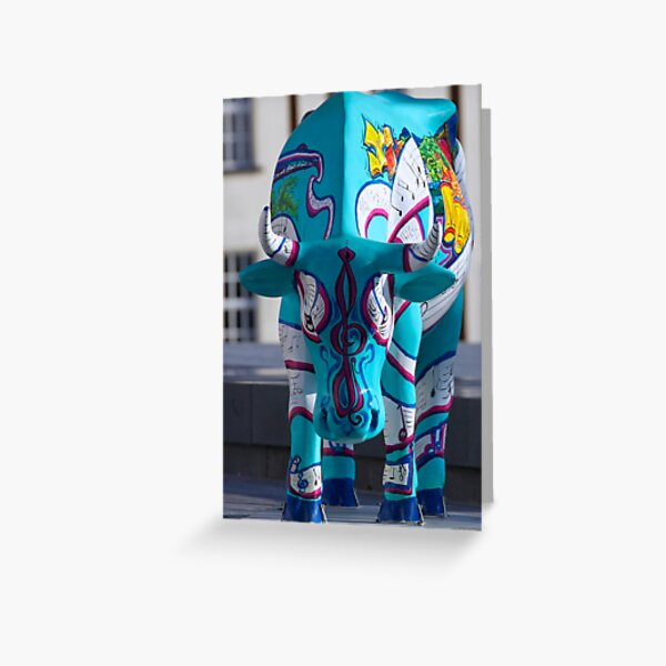 Painted Cow by Cathedral Youth, Ebrington Square Derry Greeting Card