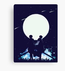 Eren and Levi by the moon Canvas Print