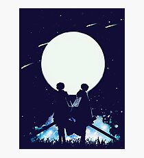 Eren and Levi by the moon Photographic Print