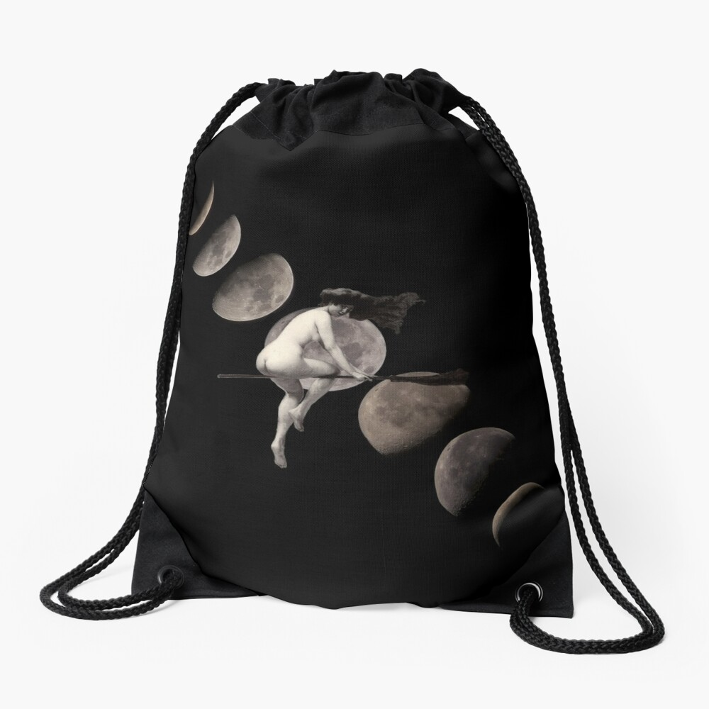 Moon Phases with Flying Vintage Witch Drawstring Bag