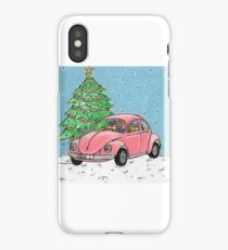 Pink Beetle Christmas design iPhone Case/Skin