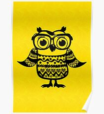 Clever owl wearing glasses Poster