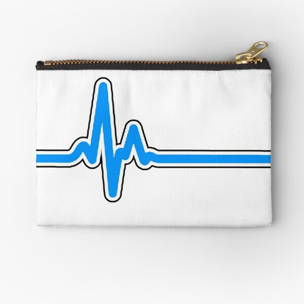 Heartbeat ECG Blue Zipper Pouch
