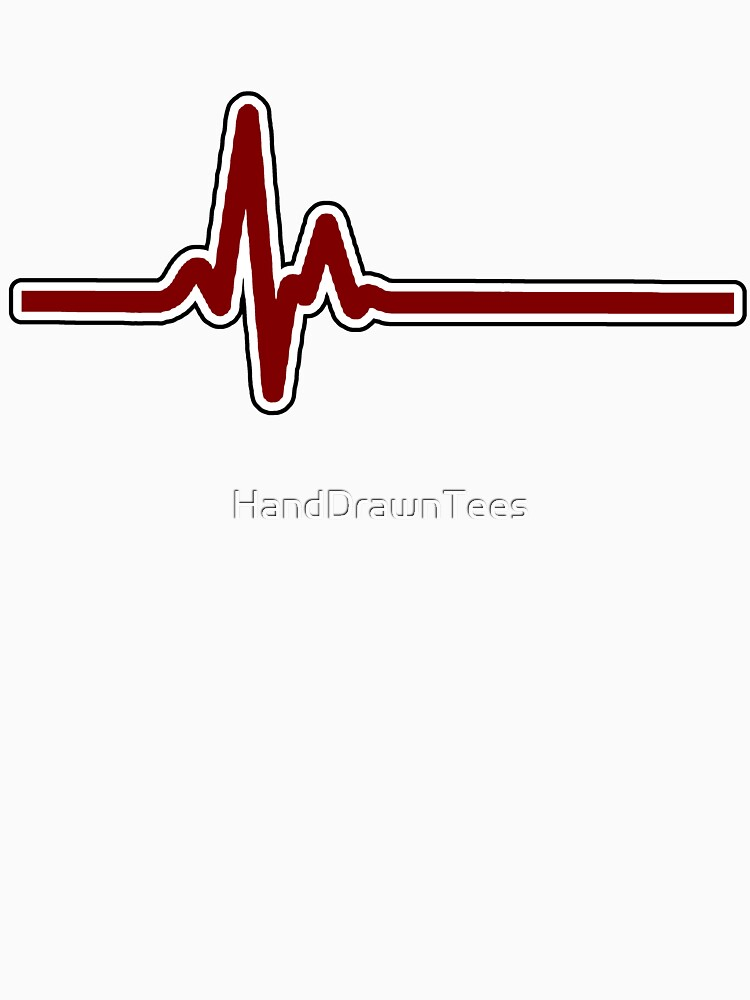 Heartbeat ECG Red by HandDrawnTees