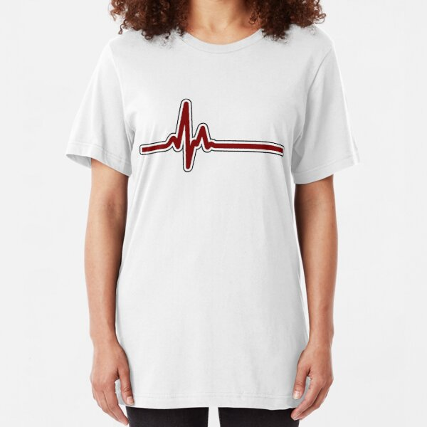 Heartbeat ECG Red Slim Fit T-Shirt