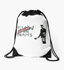 Banksy Follow Your Dreams Cancelled Drawstring Bag