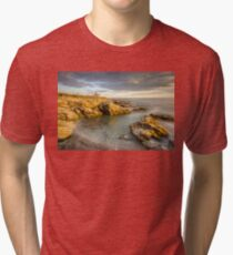 Beavertail Lighthouse at Sunset Tri-blend T-Shirt