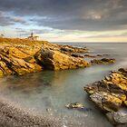 Beavertail Lighthouse at Sunset by Joshua McDonough Photography