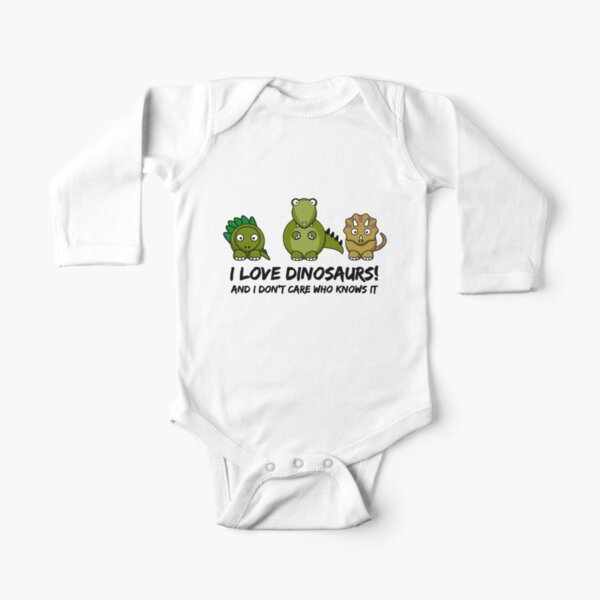 I Love Dinosaurs Long Sleeve Baby One-Piece