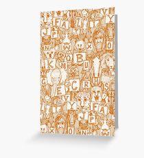 animal abc orange ivory Greeting Card