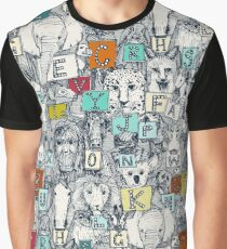 animal abc indigo multi Graphic T-Shirt