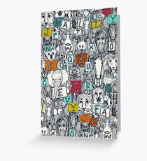 animal abc indigo multi Greeting Card