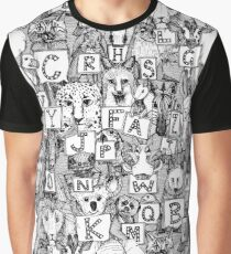 animal abc black white Graphic T-Shirt