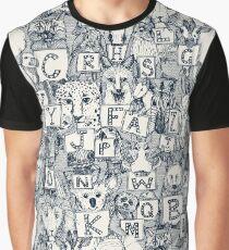 animal abc indigo ivory Graphic T-Shirt