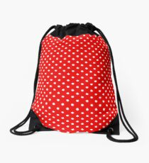 Red with white polka dots Drawstring Bag