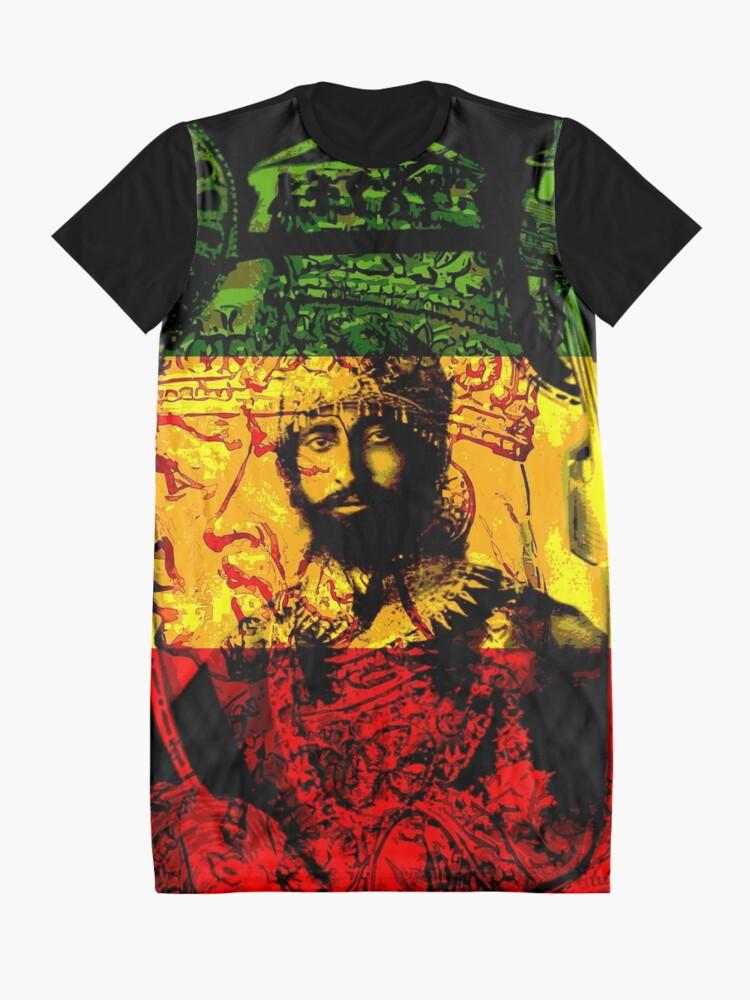 Alternate view of Rasta Haile Selassie Natural Mystic Lion of Judah Graphic T-Shirt Dress