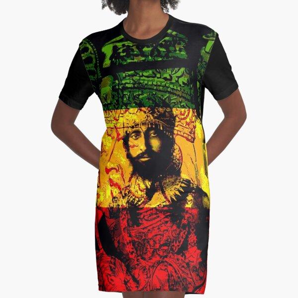 Rasta Haile Selassie natürlicher mystischer Löwe von Juda T-Shirt Kleid
