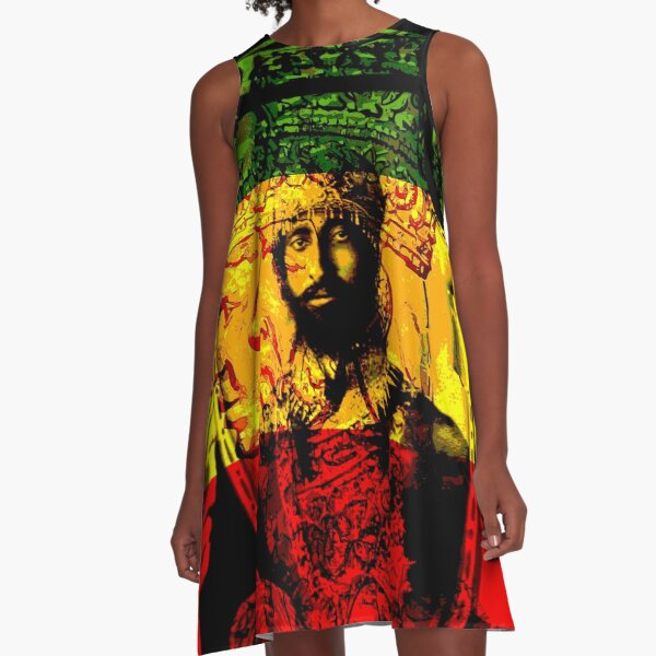 Rasta Haile Selassie Natural Mystic Lion of Judah A-Line Dress