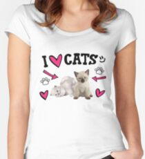 I Love Cats Cute design Women's Fitted Scoop T-Shirt