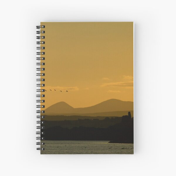 Geese over Derryveagh mountains at Twilight Spiral Notebook