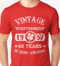 Birthday September 1957 60 Years Of Being Awesome T-Shirt