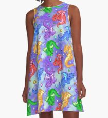 Edelstein-Drachen-Muster A-Linien Kleid
