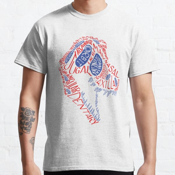 Calligram of the Anatomy of a Tyrannosaur Skull gradient Classic T-Shirt