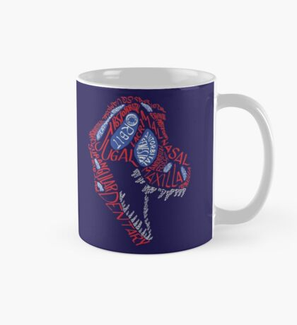 Calligram of the Anatomy of a Tyrannosaur Skull gradient Mug