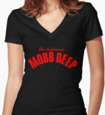 THE INFAMOUS MOBB DEEP - BLOOD RED Women's Fitted V-Neck T-Shirt