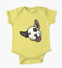 Smiling Black Eye Patch Bull Terrier One Piece - Short Sleeve