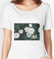 Close-up of white garden roses. Macro shot. Women's Relaxed Fit T-Shirt