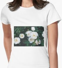 Close-up of white garden roses. Macro shot. Womens Fitted T-Shirt