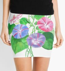 Morning Glory Isolated On White Mini Skirt