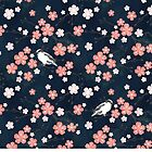 Navy and pink bird cherry blossom by adenaJ