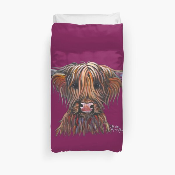 Scottish Hairy Highland Cow PRiNT ' BONNIE BEAN ' by Shirley MacArthur Duvet Cover