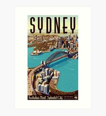 Sydney, big city, port, panoramic view, tourist travel, vintage, poster Art Print