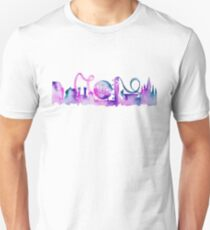 Orlando Theme Park Inspired Watercolor Skyline Silhouette T-Shirt