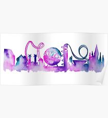Orlando Theme Park Inspired Watercolor Skyline Silhouette Poster