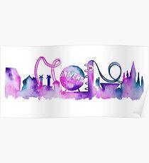 Orlando Theme Park Inspired Watercolor Skyline Silhouette Poster