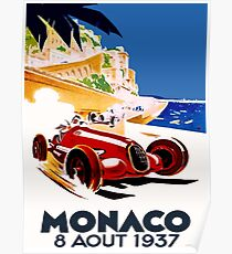 """MONACO GRAND PRIX"" Vintage Auto Racing Advertising Print Poster"