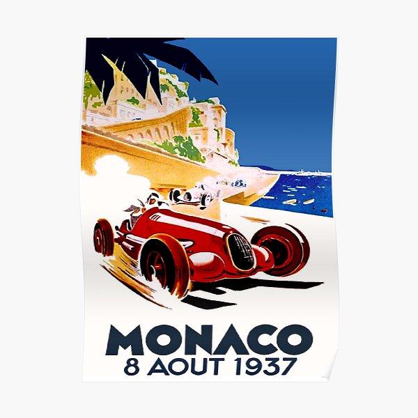 POSTER 1933 MONACO CAR STREET RACE GRAND PRIX AUTOMOBILE VINTAGE REPRO FREE S//H