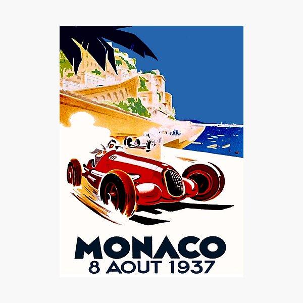 """""""MONACO GRAND PRIX"""" Vintage Auto Racing Advertising Print Photographic Print"""