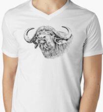 Cape Buffalo Bull, Close Up | African Wildlife Men's V-Neck T-Shirt