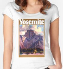 Yosemite, Mountain, National park, Vintage travel poster Women's Fitted Scoop T-Shirt